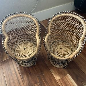 Pair of vintage wicker rattan peacock plant chairs